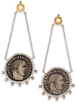 Coomi Silver Coin Diamond, Crystal, 20K Yellow Gold & Sterling Silver Drop Earrings