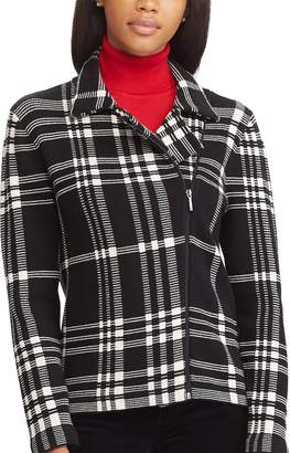 Chaps Petite Asymmetrical-Zip Long-Sleeve Sweater Jacket