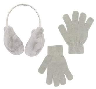 Capelli of New York Faux Fur Kitten Ear Muffs & Gloves Set (Toddler, Little Girls, & Big Girls)