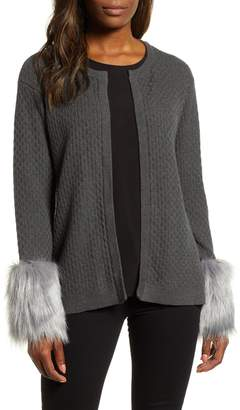 Chaus Faux Fur Detail Cotton Cable Cardigan