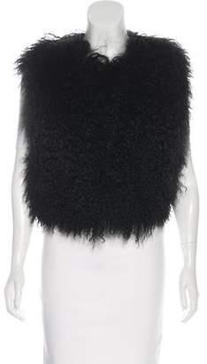 Adrienne Landau Round Neck Fur Vest