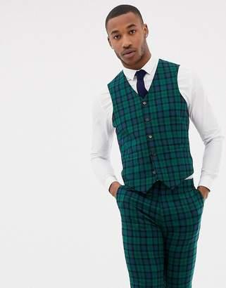 Asos Design DESIGN wedding skinny suit waistcoat in blackwatch tartan