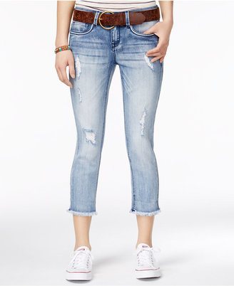 Dollhouse Juniors' Ripped Belted Cropped Skinny Jeans $49 thestylecure.com