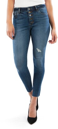 KUT from the Kloth Donna Button Fly High Waist Raw Hem Ankle Skinny Jeans