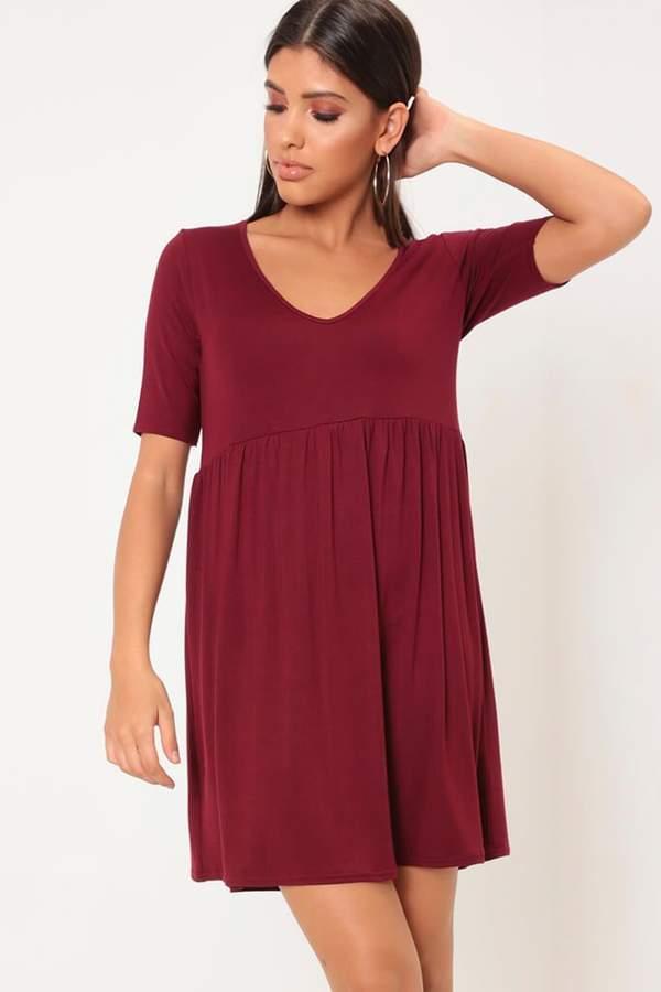 Isawitfirst Burgundy V-Neck Jersey Smock Dress