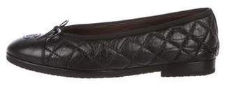 Chanel CC Quilted Leather Cap-Toe Flats