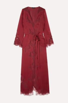 Carine Gilson Égérie Chantilly Lace-trimmed Silk-satin Robe - Burgundy