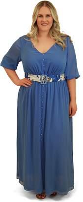 082892db72c Chez Tu Creulean Blue Split Front Peasant Maxi Dress Size 14