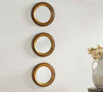 Pottery Barn Round Gold Gilt Mirrors - Set of 3