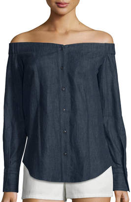 Rag & Bone Kacy Reversible Chambray Off-the-Shoulder Tunic, Indigo