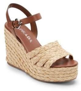 Prada Women's Raffia Espadrille Wedge Sandals - Brown - Size 39 (9)