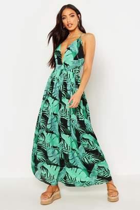 boohoo Plunge Front Palm Print Maxi Dress