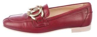 Tod's Leather Square-Toe Loafers gold Leather Square-Toe Loafers