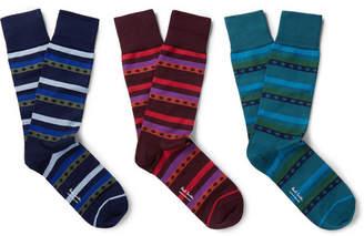 Paul Smith Three-Pack Stretch Cotton-Blend Socks - Men - Multi