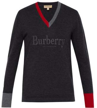 Burberry Vance Logo Embroidered Merino Sweater - Mens - Dark Grey