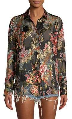 The Kooples Bollywood Metallic Floral Blouse