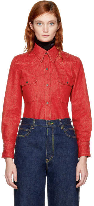 Calvin Klein 205W39NYC Red Denim Shirt