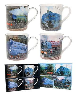 Fashion World Classic Locomotive Set Of 4 Gift Mugs