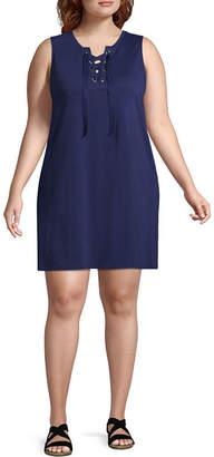 Arizona Short Sleeve Tie Dye A-Line Dress-Juniors Plus