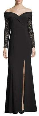 Xscape Evenings Lace-Sleeve Sweetheart Slit Gown