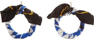 Balenciaga Printed Silk-twill Earrings - Black