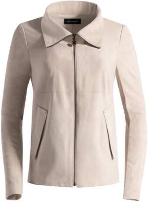 St. John Silken Suede Funnel Neck Zip Front Jacket