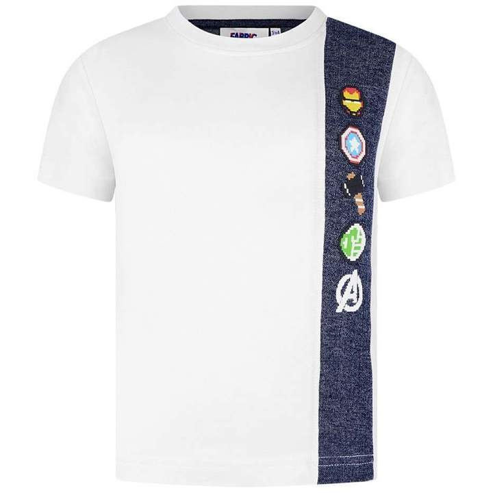 Fabric FlavoursWhite Avengers Top With Denim Strip