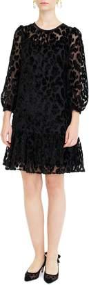 J.Crew Leopard Flutter Hem Burnout Velvet Dress