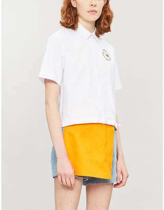 Mini Cream Layered stretch-denim shorts