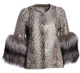 The Fur Salon Python& Fox Fur Cuff Jacket
