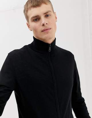 Asos DESIGN Knitted Muscle Fit Track Jacket In Black