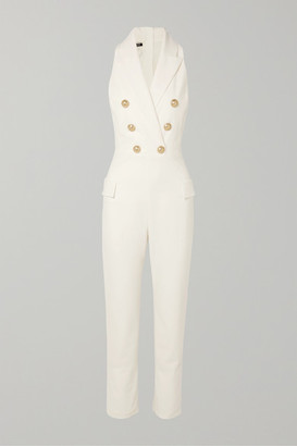 Balmain Button-embellished Wool-blend Jumpsuit - White