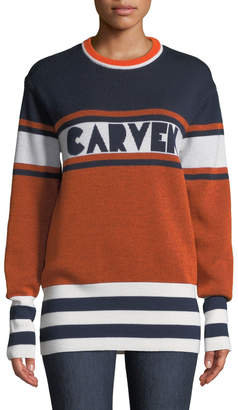 Carven Colorblock Logo Crewneck Pullover Sweater