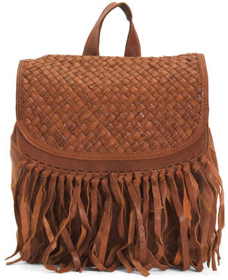 Lambskin Leather With Fringe Backpack