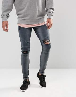 Asos Extreme Super Skinny Jeans In Blue Black With Rips And Biker Detail