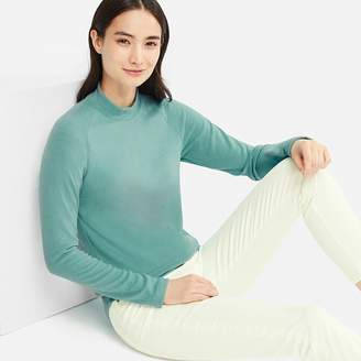 Uniqlo WOMEN HEATTECH Stretch Fleece Mock Neck Long Sleeve T-Shirt
