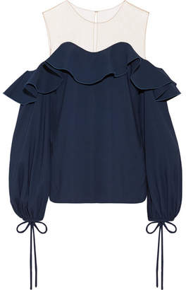 Oscar de la Renta Tulle-paneled Stretch-silk Top - Navy