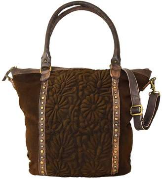 Vintage Addiction Vintage Suede Center Embossed Panel Tote