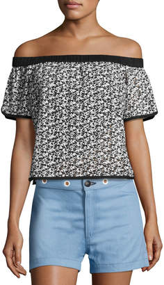 Rag & Bone Flavia Eyelet Lace Off-the-Shoulder Short-Sleeve Top