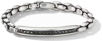 David Yurman Sterling Silver Chain ID Bracelet with Black Diamonds
