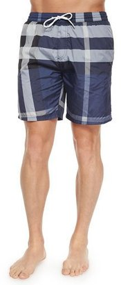 Burberry Nylon Check Swim Shorts, Navy $295 thestylecure.com