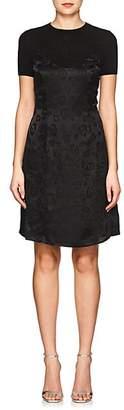 L'Agence WOMEN'S LEOPARD-PATTERN JACQUARD SILK MIDI-DRESS - BLACK SIZE 4