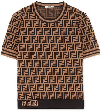 Fendi Intarsia-knit Sweater - Brown