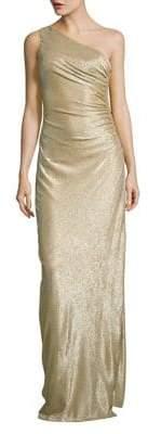 Calvin Klein Ruched Metallic One-Shoulder Gown