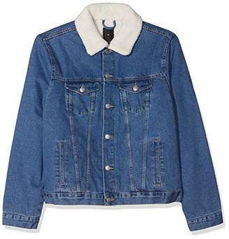 16fe230ad4300 New Look Men s 592950445 Plus Size Washed Borg Lined Denim Jacket
