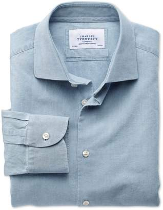 Charles Tyrwhitt Extra Slim Fit Semi-Spread Collar Business Casual Chambray Denim Blue Cotton Dress Shirt Single Cuff Size 15/33
