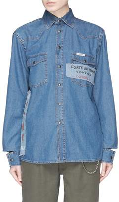 Couture Forte Slogan appliqué graffiti print denim shirt