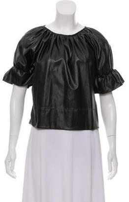 Rachel Comey Faux Leather Short Sleeve Top