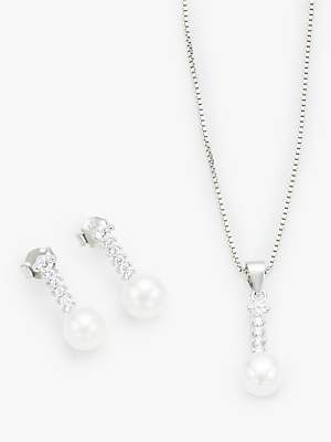 Lido Pearl and Cubic Zirconia Drop Earrings and Pendant Necklace Jewellery Gift Set, Silver/White