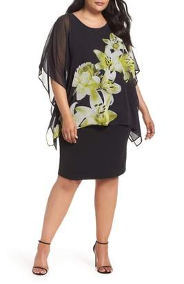 Evans Floral Print Chiffon Overlay Dress